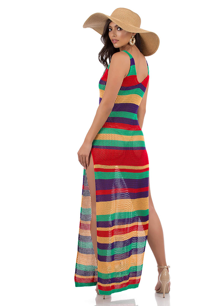Knit And Slit Striped Maxi Dress MULTI