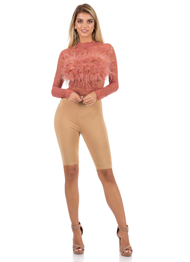Furry Feathery Floral Lace Bodysuit ROSE