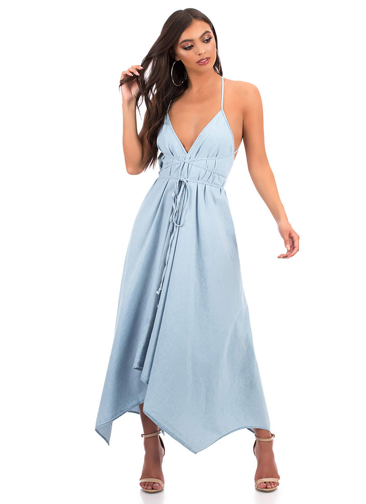 Chic Chambray Tied Open-Back Maxi Dress LTBLUE