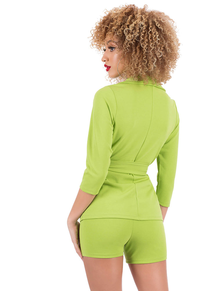 Suit Up Tied Blazer And Shorts Set LIMEGREEN