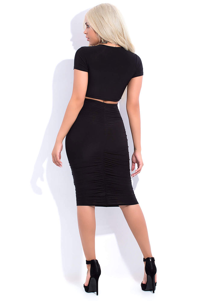 Positively Shirr Ruched Two-Piece Dress BLACK
