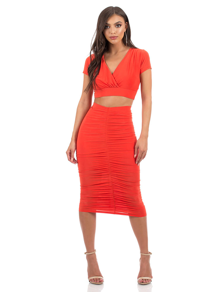 Positively Shirr Ruched Two-Piece Dress CORAL