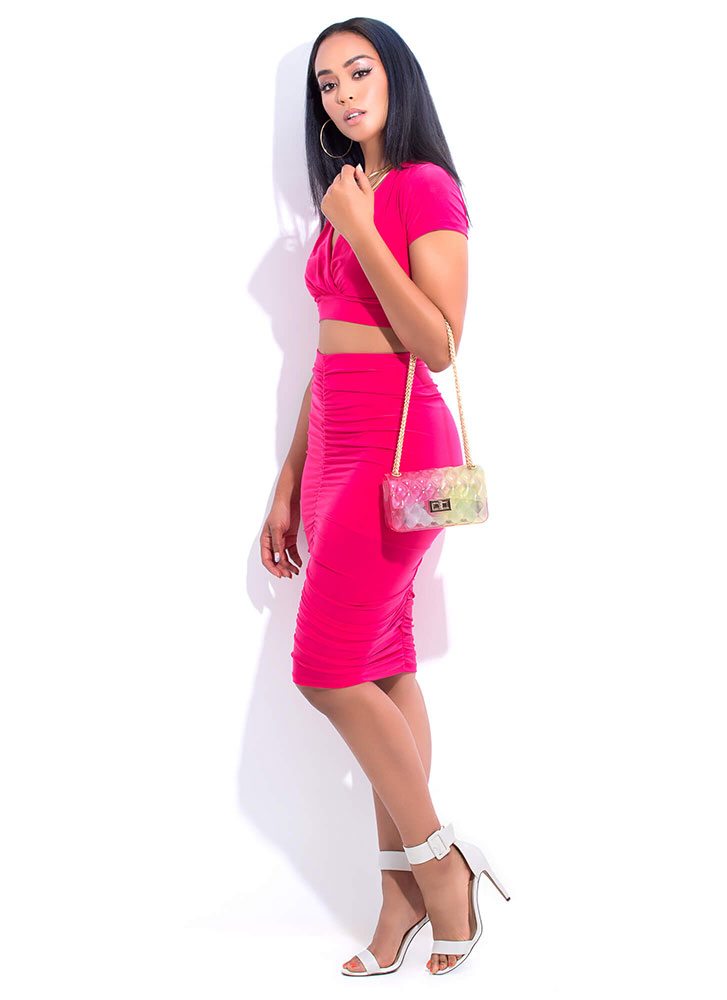 Positively Shirr Ruched Two-Piece Dress HOTPINK