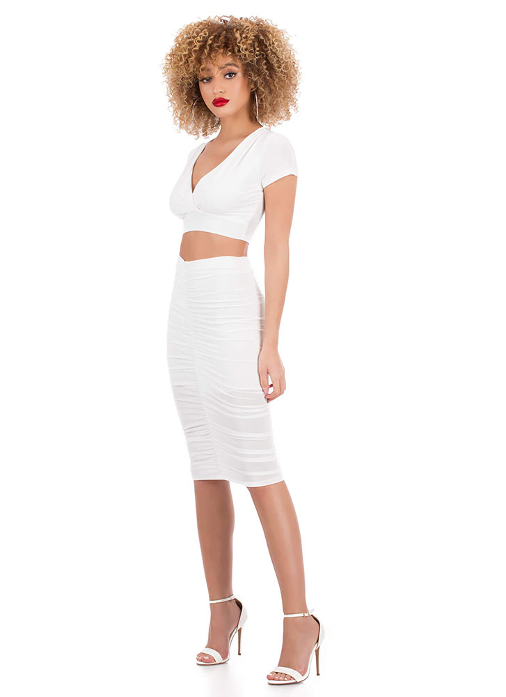 Positively Shirr Ruched Two-Piece Dress WHITE