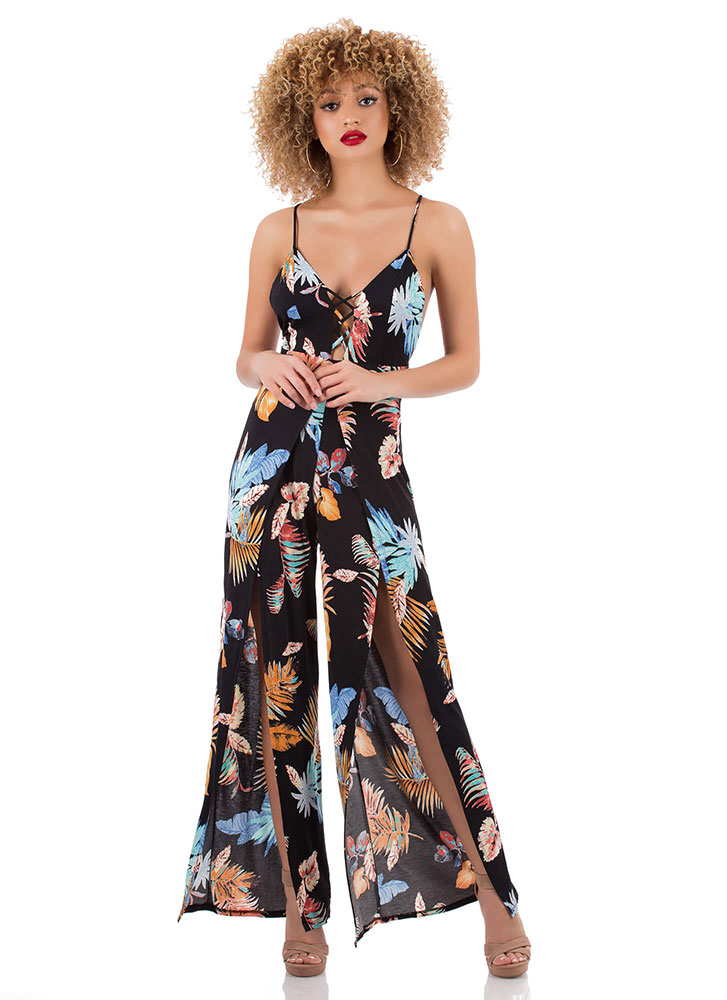 Take Leaf Tropical Split-Leg Jumpsuit BLACKMULTI