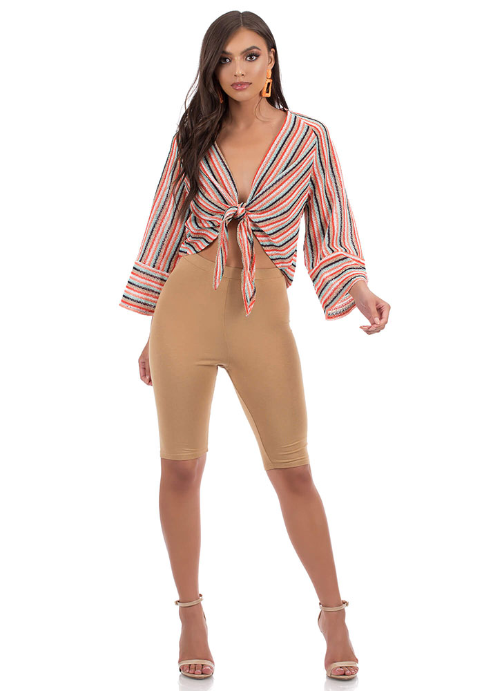 Fun In Stripes Knotted Knit Top MULTI