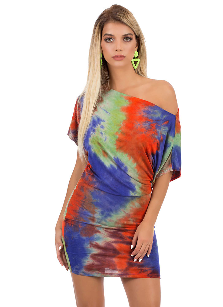 Totally Tie-Dye Off-Shoulder Minidress PURPLEMULTI