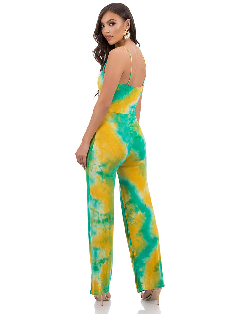 Truly Tie-Dye Wide-Leg Jumpsuit GREENYELLOW