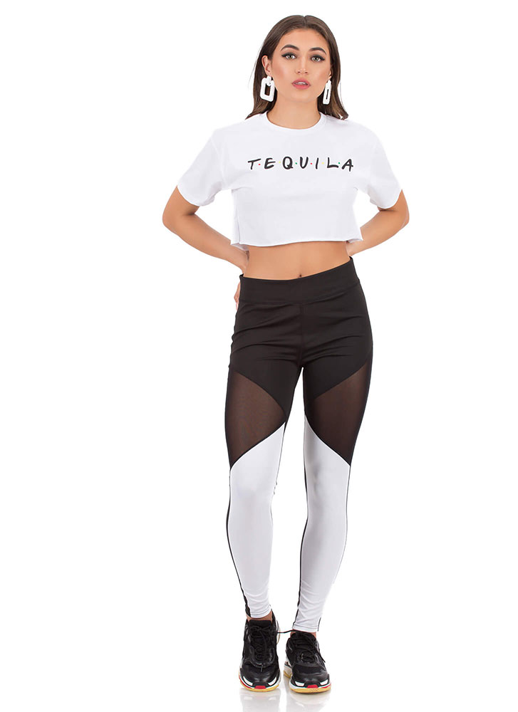 What A Mesh Inset Colorblock Leggings BLACKWHITE (You Saved $9)
