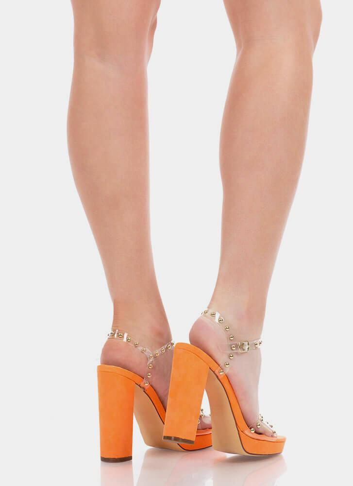 Clearly A Stud Chunky Platform Heels ORANGE
