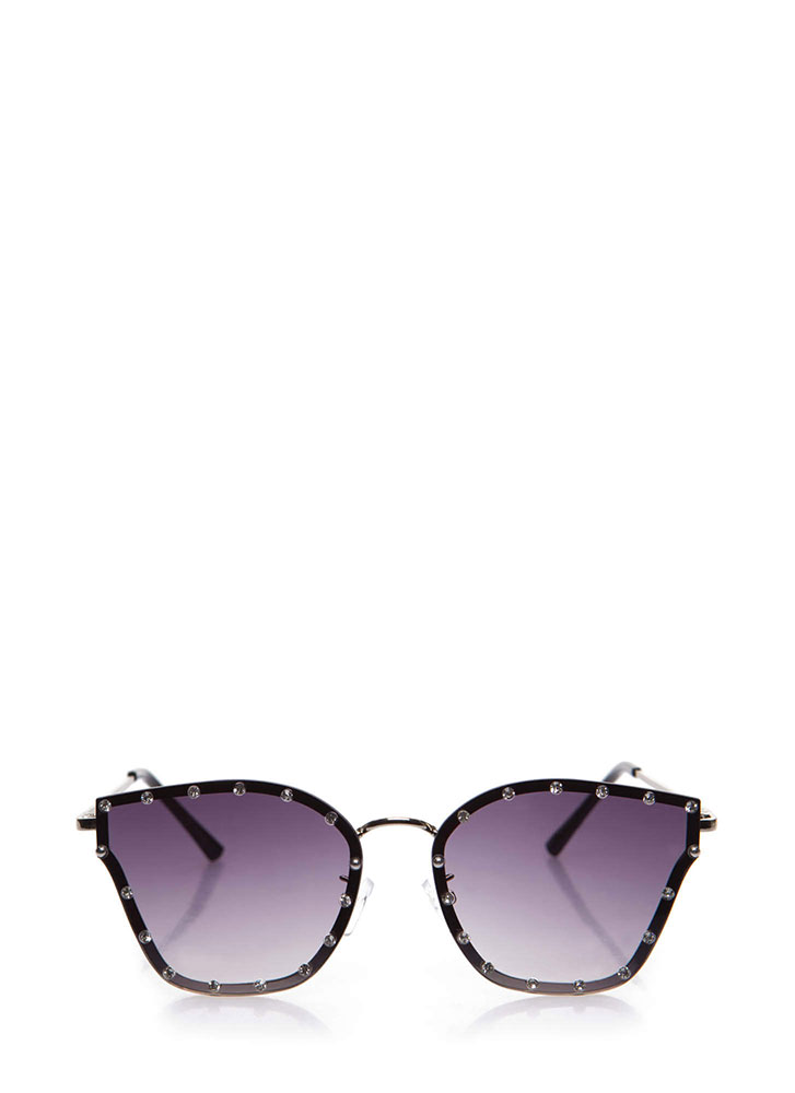 Sparkly Eyes Jeweled Ombre Sunglasses BLACK