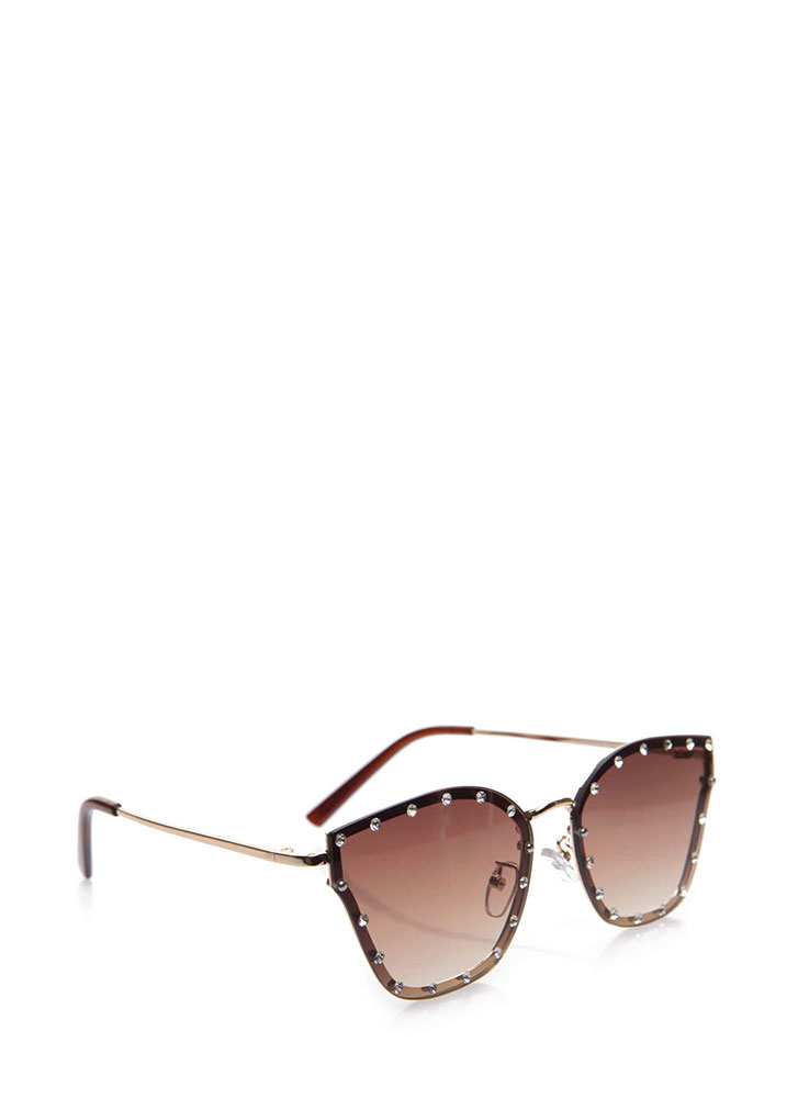 Sparkly Eyes Jeweled Ombre Sunglasses BROWN
