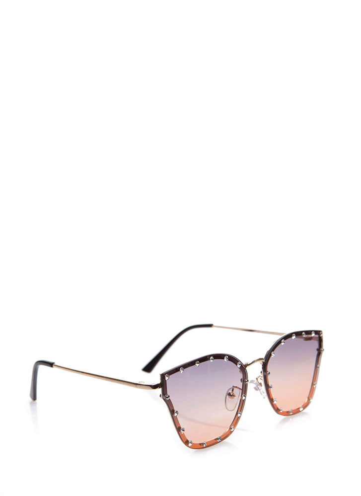 Sparkly Eyes Jeweled Ombre Sunglasses BROWNMULTI