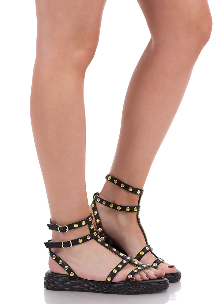 Tire Tracks Studded Caged Sandals BLACK