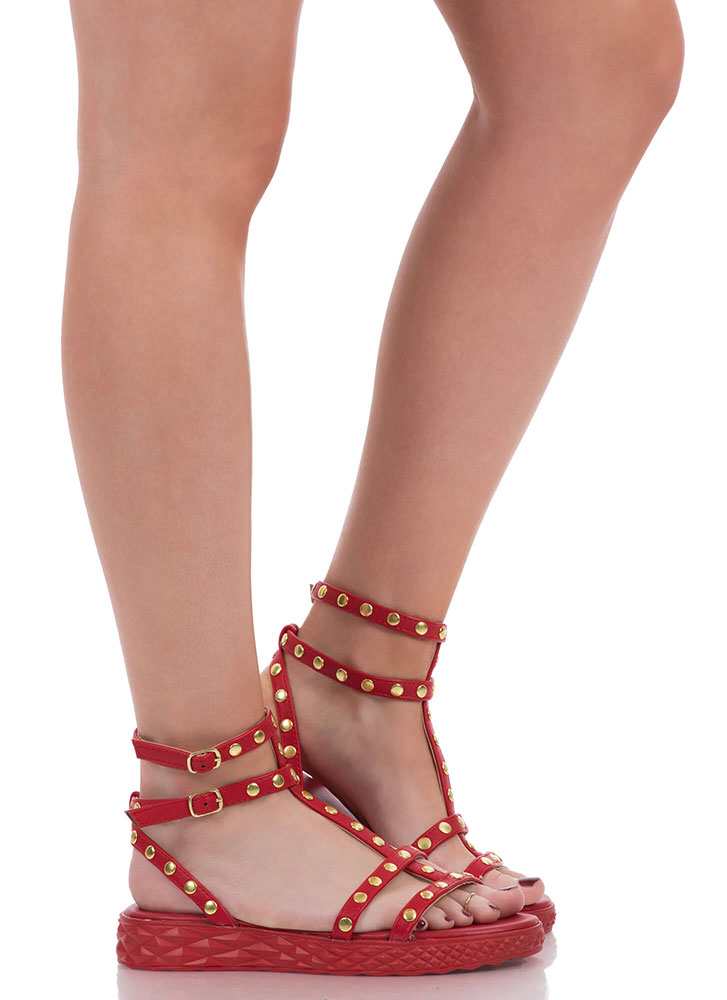 Tire Tracks Studded Caged Sandals RED