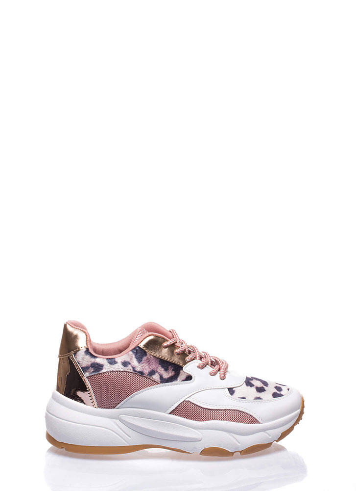Have It All Mixed Media Leopard Sneakers WHITE