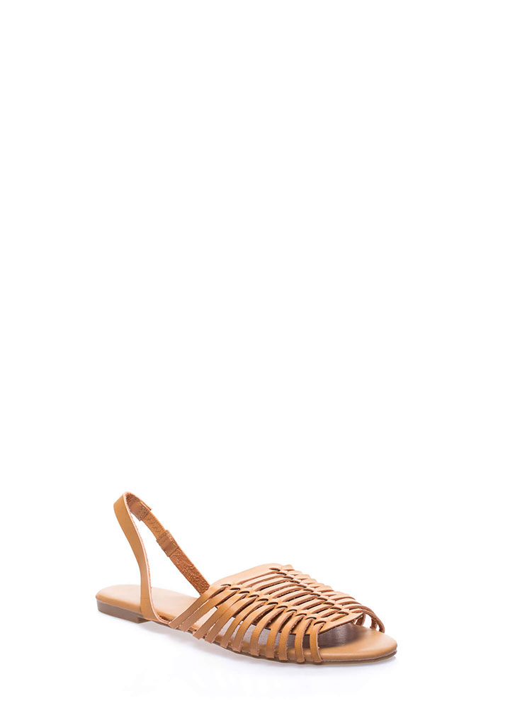 I'm On Vacay Strappy Slingback Sandals CAMEL