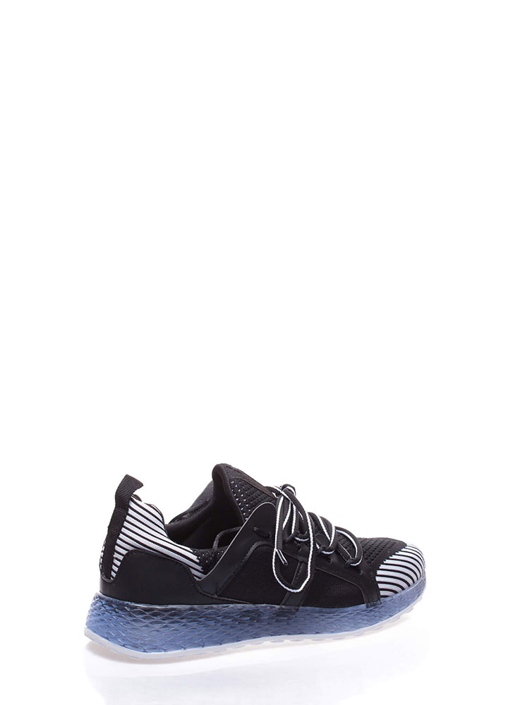 Cool Running Striped Knit Sneakers BLACK