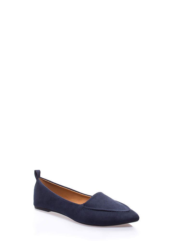 Down To Business Pointy Loafer Flats NAVY