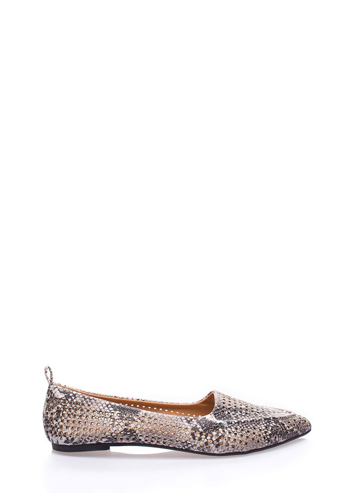 Snake Up Pointy Perforated Loafer Flats BEIGEBROWN