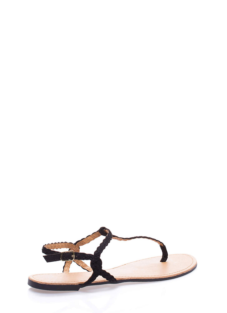 Gimme The Skinny Braided T-Strap Sandals BLACK