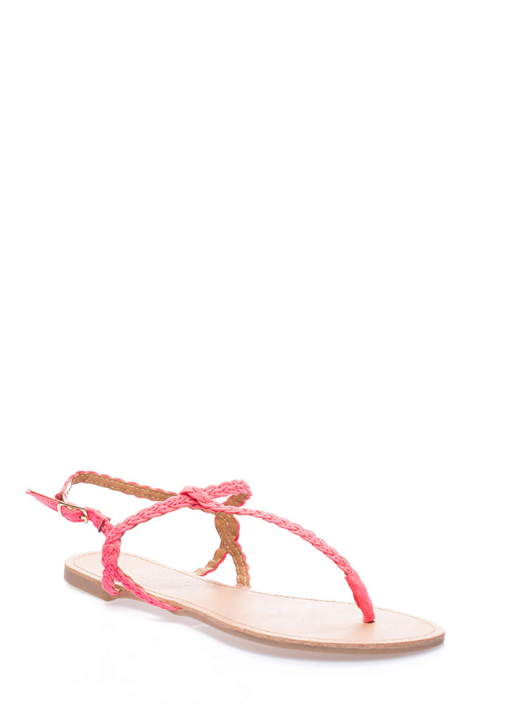 Gimme The Skinny Braided T-Strap Sandals CANDYPINK