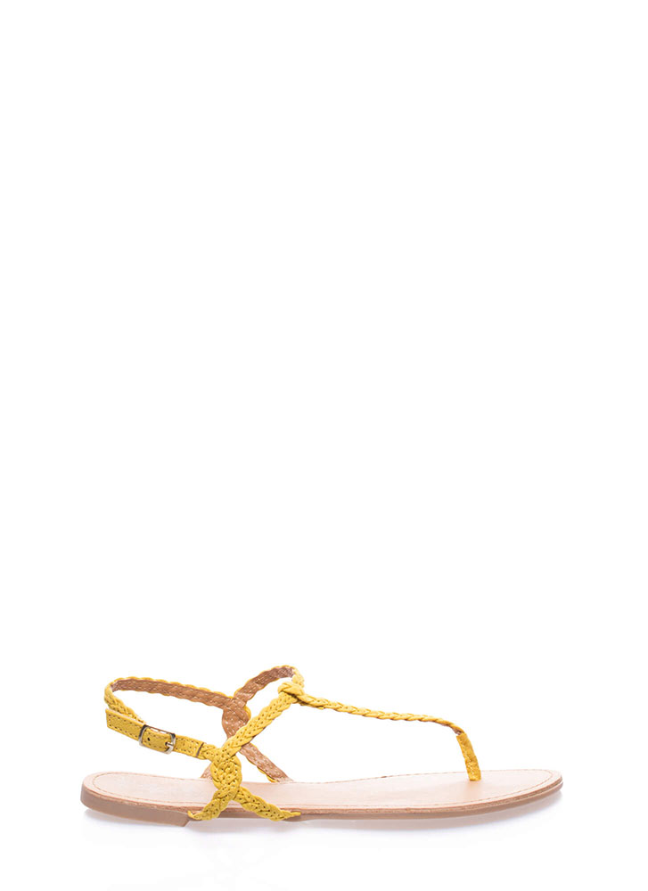 Gimme The Skinny Braided T-Strap Sandals YELLOW