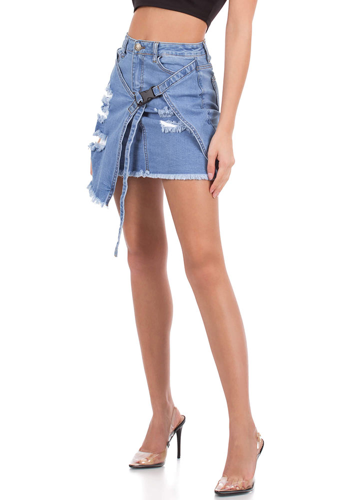 Buckle Up Distressed Denim Miniskirt LTBLUE (You Saved $23)