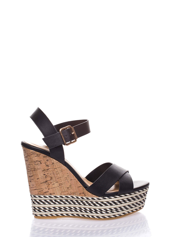 All The Trimmings Platform Wedges BLACK
