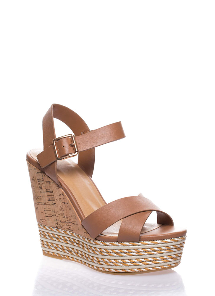 All The Trimmings Platform Wedges TAN