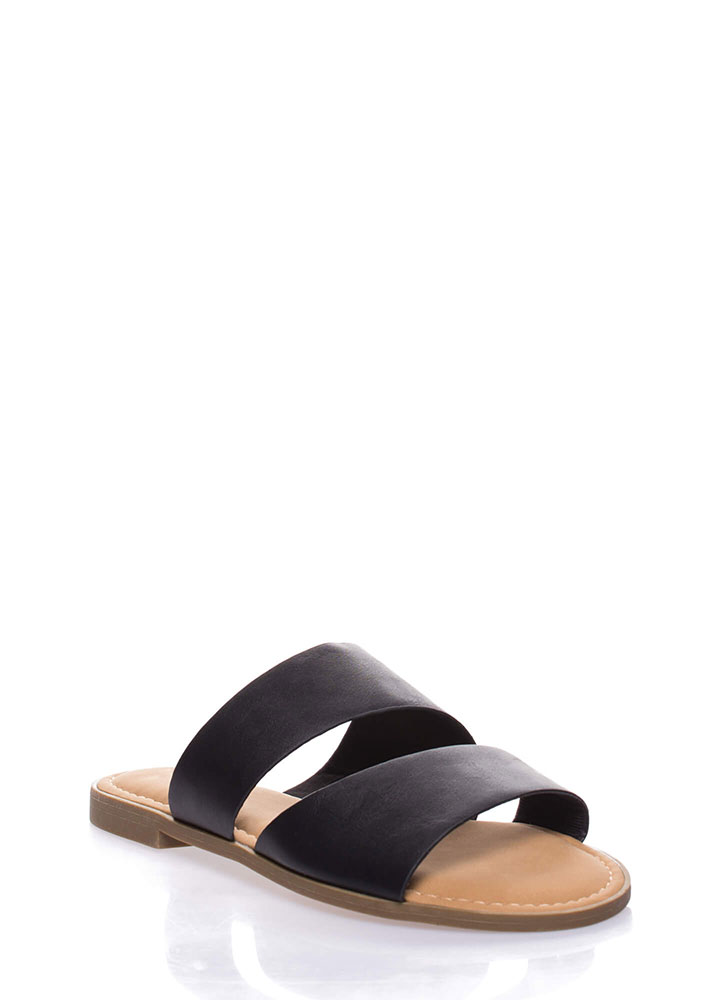 Beach Baby Faux Leather Slide Sandals BLACK