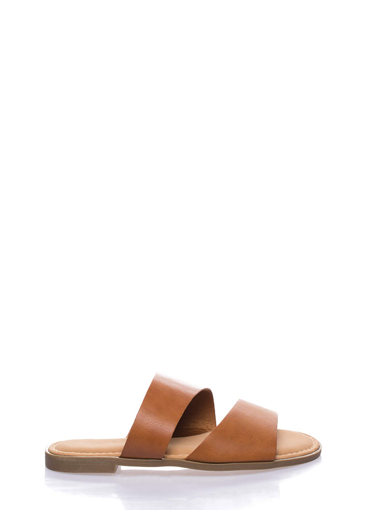 Beach Baby Faux Leather Slide Sandals TAN
