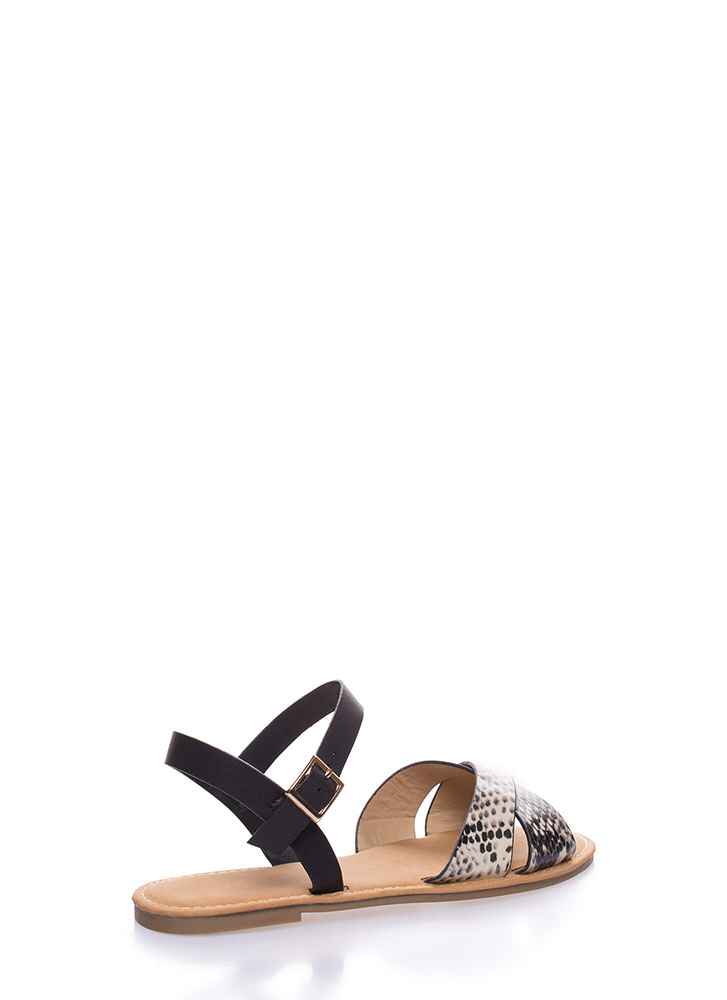 Strappy Shores Faux Snake Sandals BEIGE