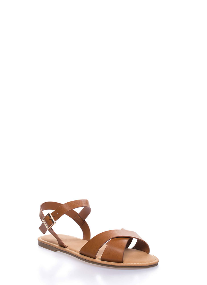 Strappy Shores Faux Leather Sandals TAN