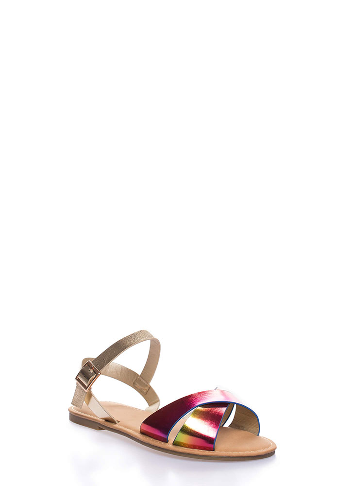Strappy Shores Holographic Sandals RAINBOW