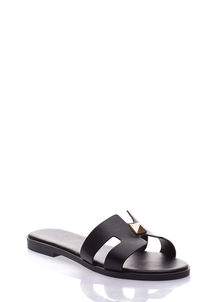 Cute Accent Faux Leather Slide Sandals BLACK