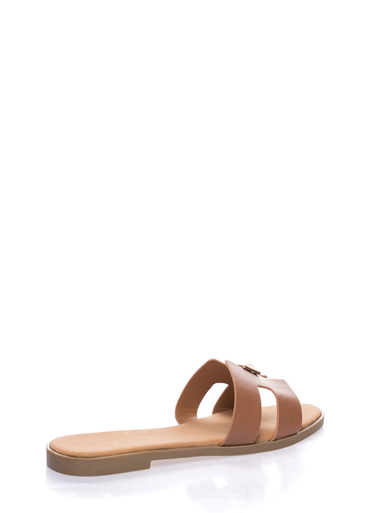 Cute Accent Faux Leather Slide Sandals TAN