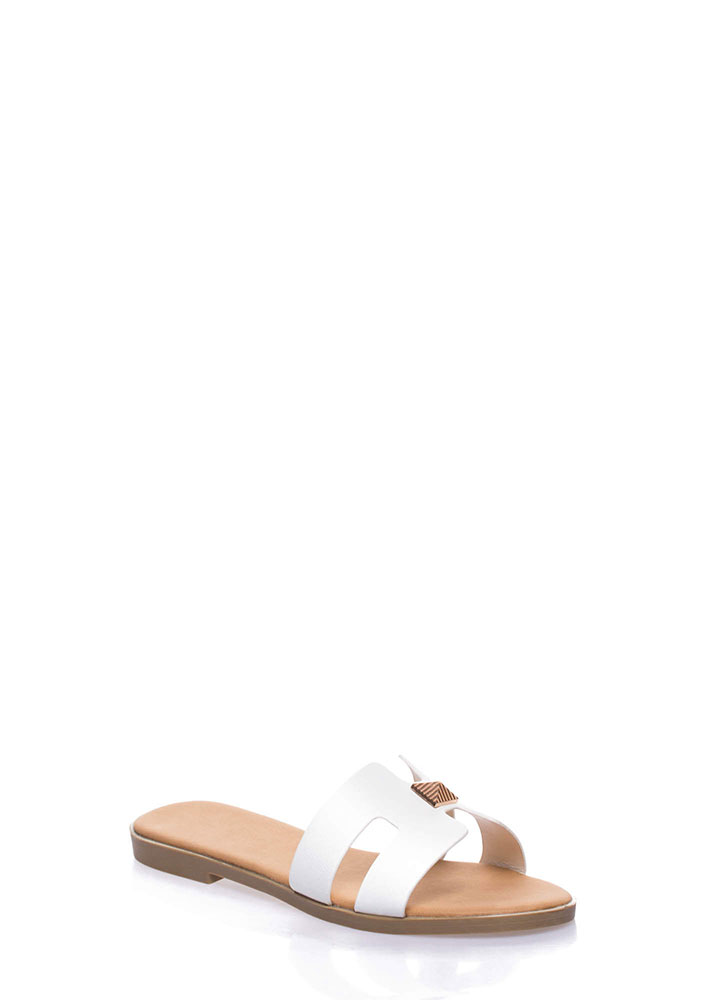 Cute Accent Faux Leather Slide Sandals WHITE