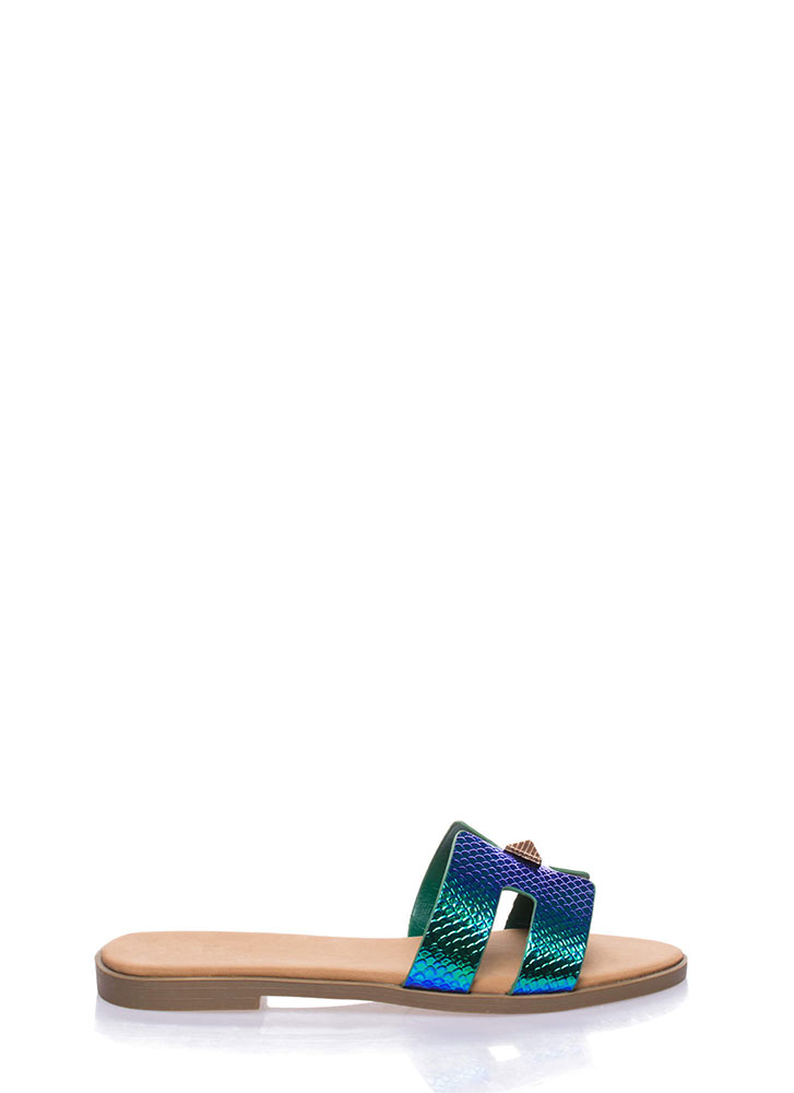 Cute Accent Holographic Slide Sandals BLUE