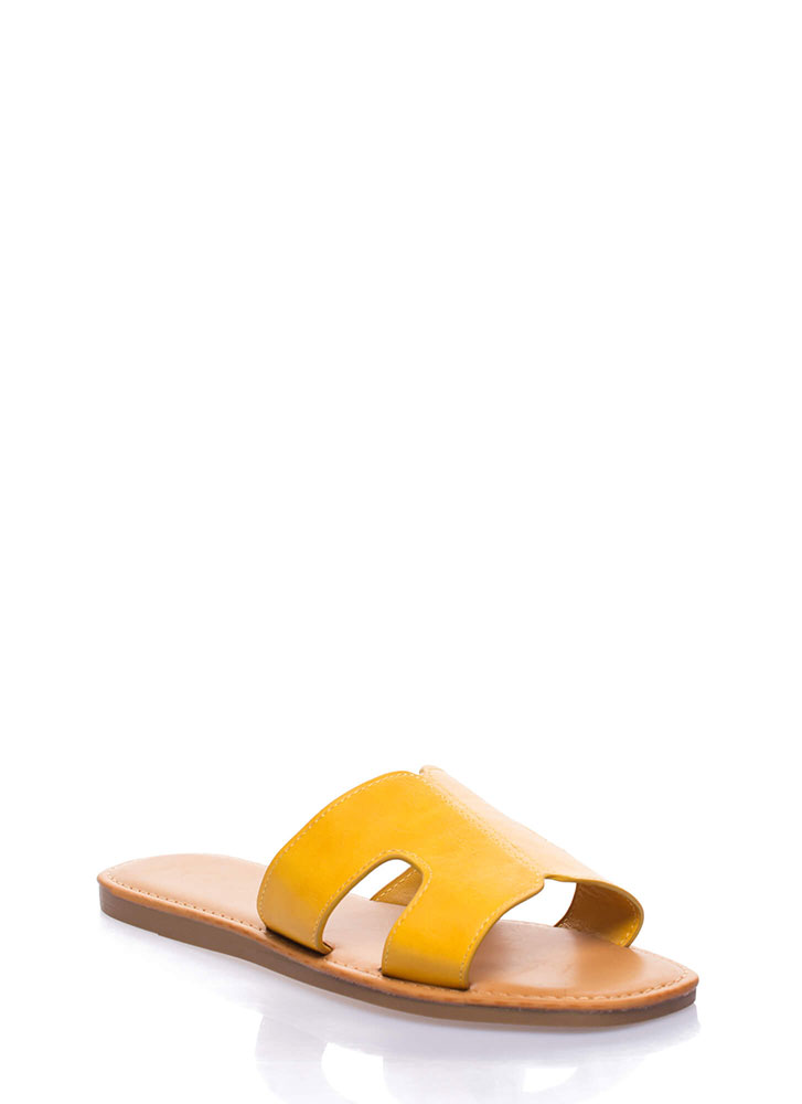On And Off Cut-Out Slide Sandals MARIGOLD