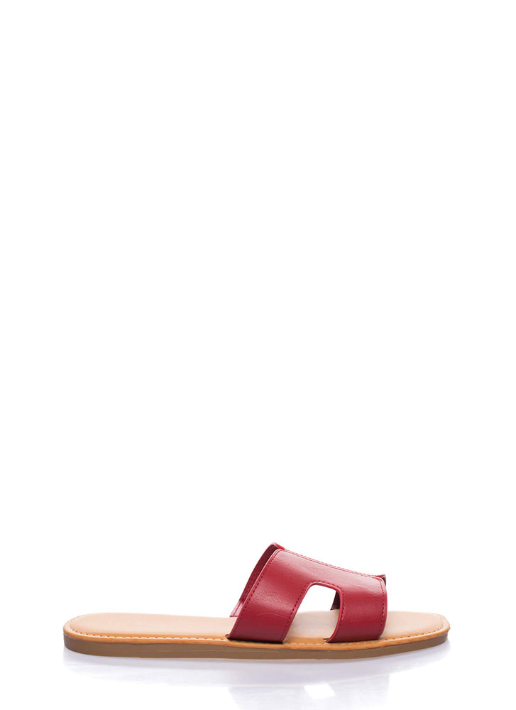 On And Off Cut-Out Slide Sandals RED