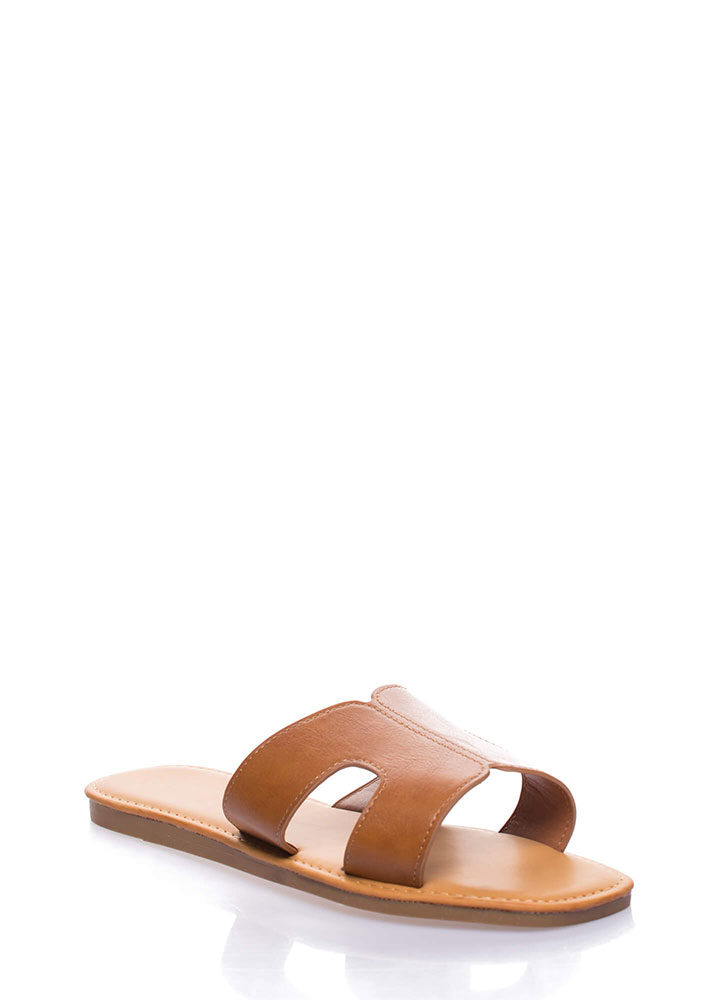 70956c94dc26 On And Off Cut-Out Slide Sandals TAN RED WHITE MARIGOLD BLACK ...