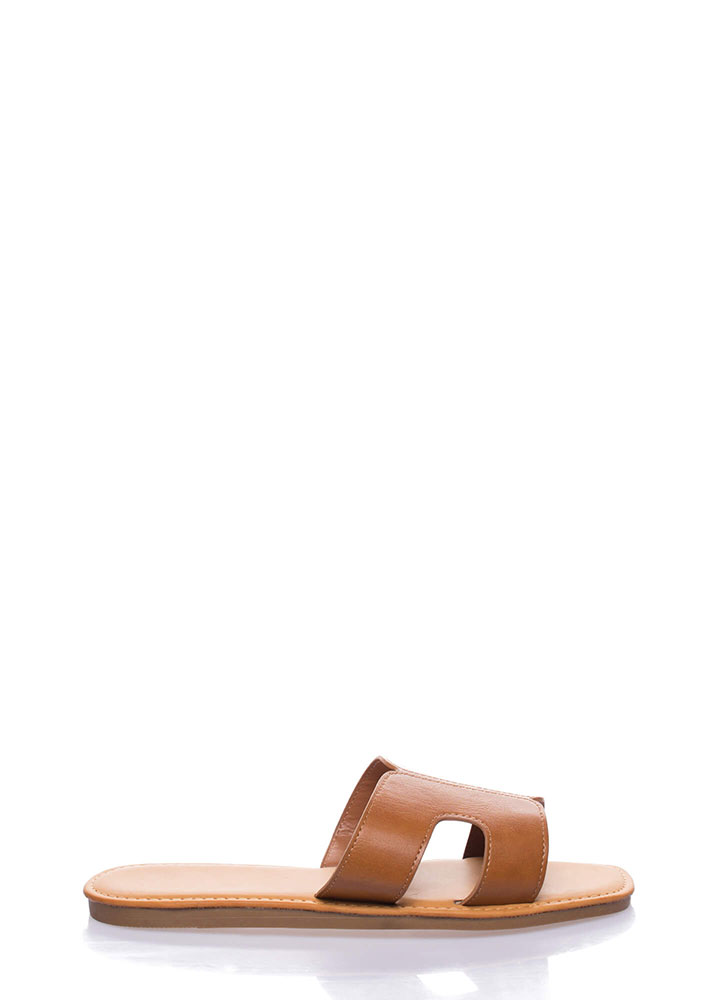 On And Off Cut-Out Slide Sandals TAN
