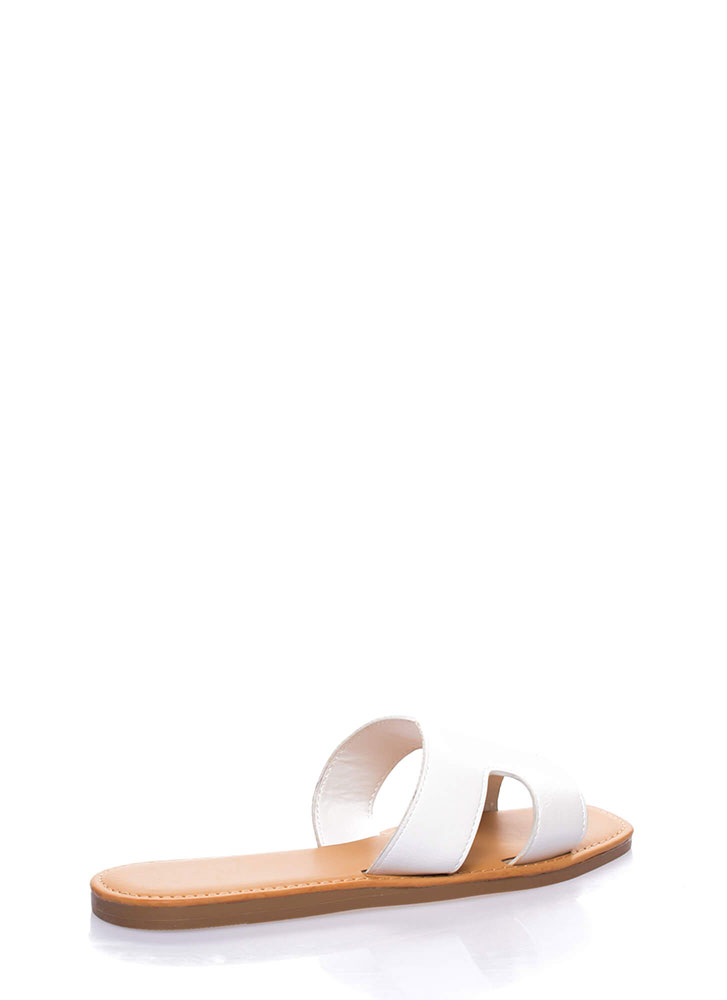 On And Off Cut-Out Slide Sandals WHITE