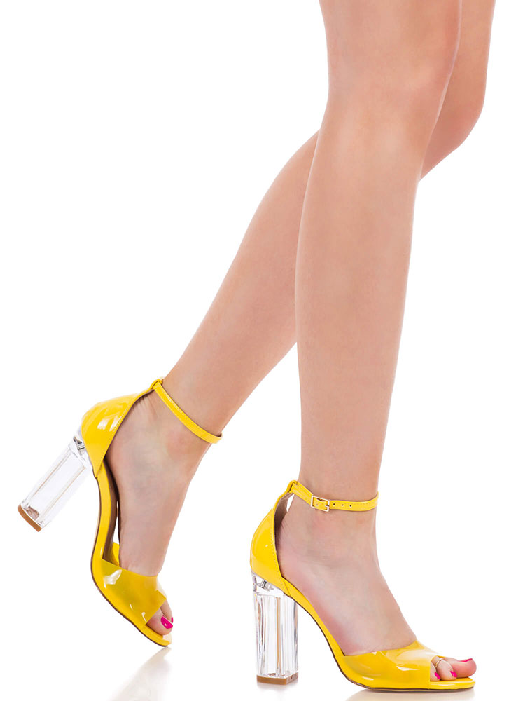 Clear Out Chunky Lucite Peep-Toe Heels YELLOW