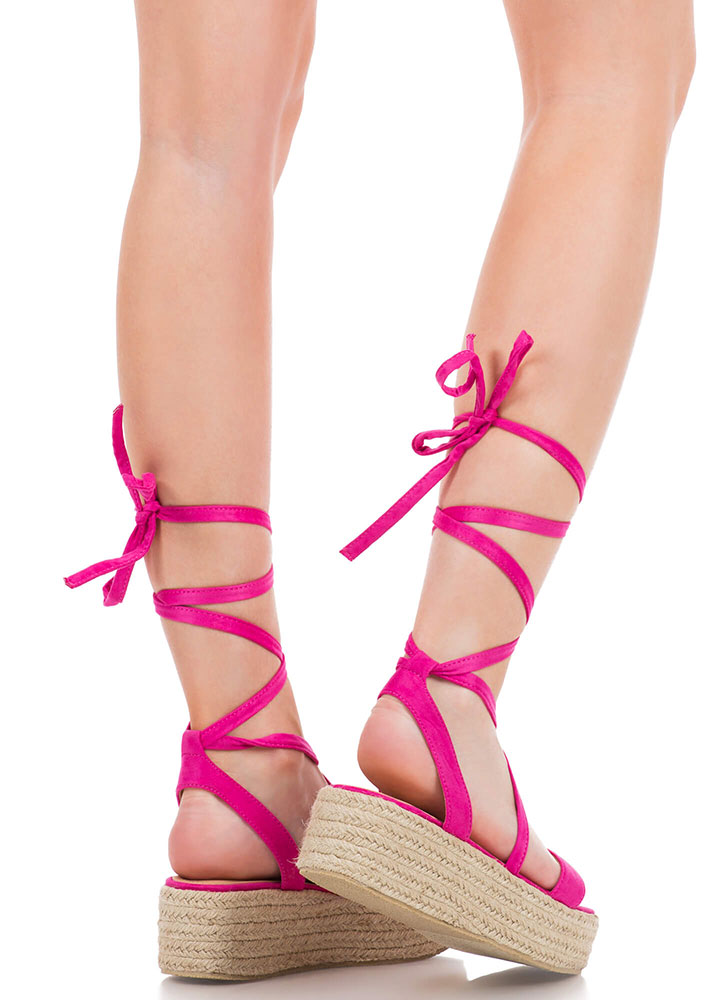 Beach Vacation Lace-Up Platform Sandals FUCHSIA