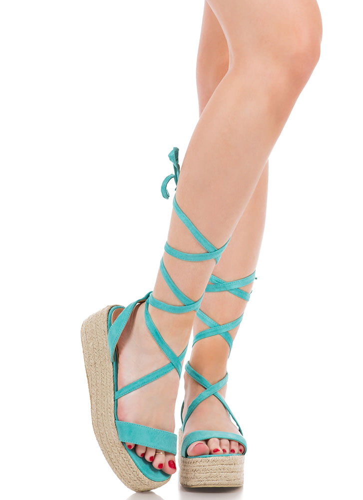 Beach Vacation Lace-Up Platform Sandals GREEN