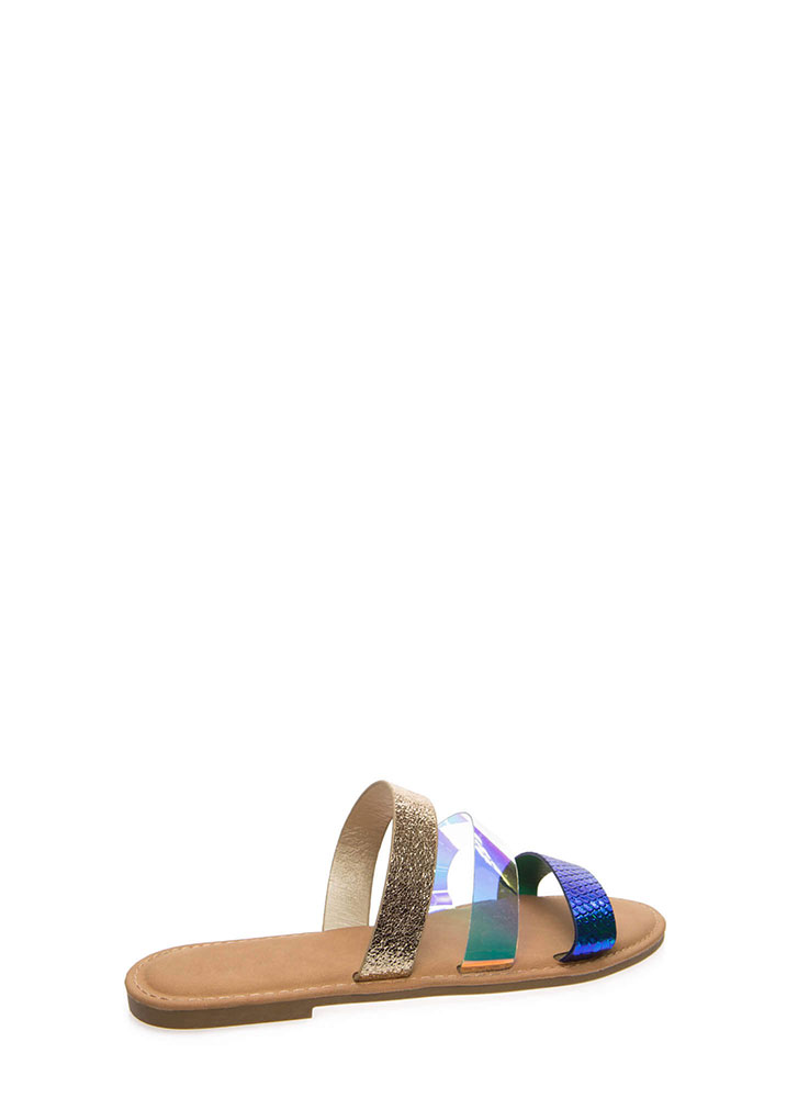 Three And Easy Multi-Strap Slide Sandals BLUE (Final Sale)
