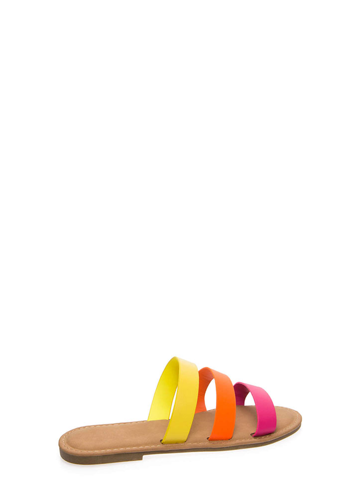 Three And Easy Strappy Slide Sandals NEONPINK