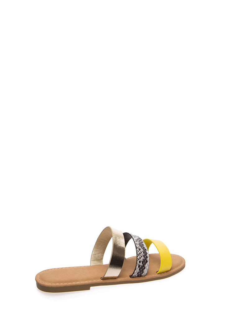 Three And Easy Strappy Slide Sandals NEONYELLOW